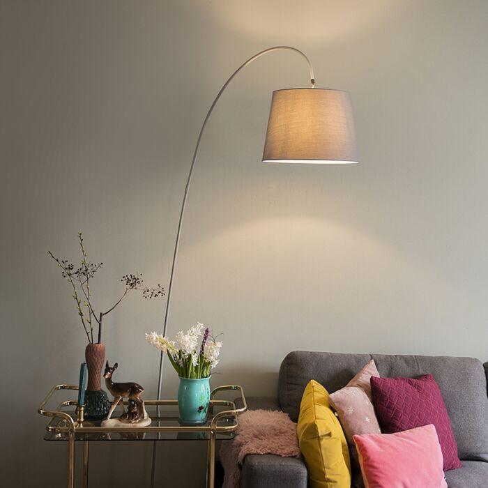 Moderne-booglamp-met-grijze-kap--Bend