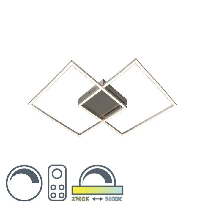 Moderne-plafonnière-staal-dimbaar-incl.-LED---Plazas-2