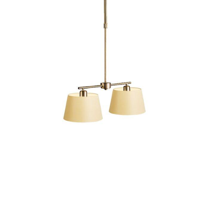 Hanglamp-Mix-2-brons-dimmer-met-kap-20cm-creme
