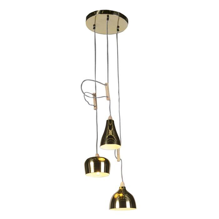 Design-hanglamp-goud/messing-3-lichts-verstelbaar---Vidya