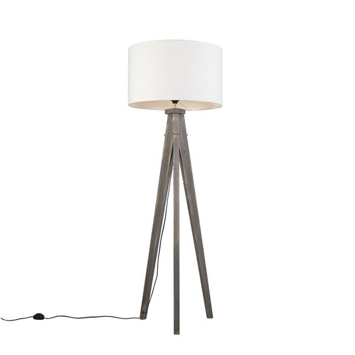 Vloerlamp-Karos-grijs-met-kap-55cm-wit