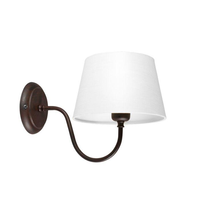 Wandlamp-Combi-Classic-bruin-met-kap-20cm-wit