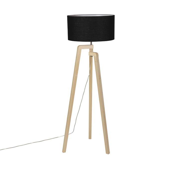 Moderne-vloerlamp-hout-met-zwarte-kap-45-cm---Puros