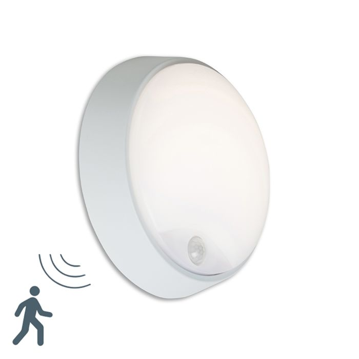 Buitenlamp-Hortus-Wand-LED-PIR-sensor-IP54-rond-grijs