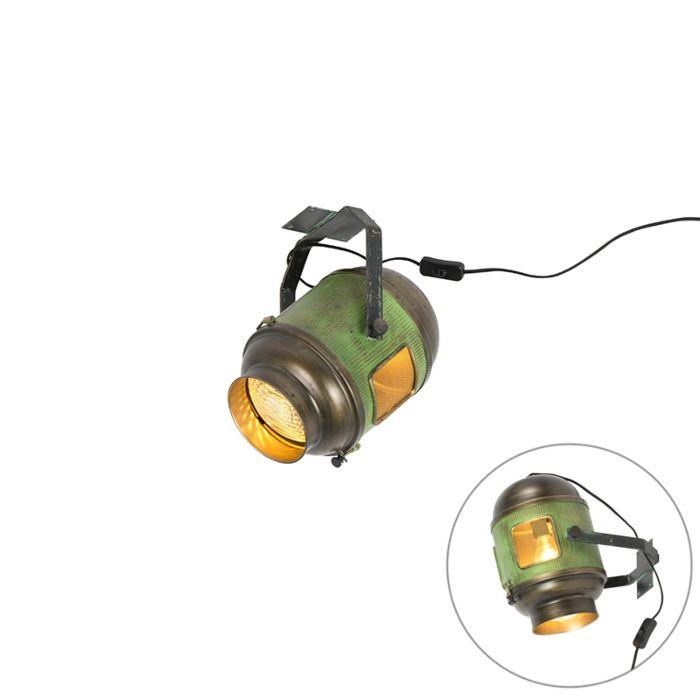 Vintage-filmspot-plafondlamp-antiek-groen-met-brons---Byron