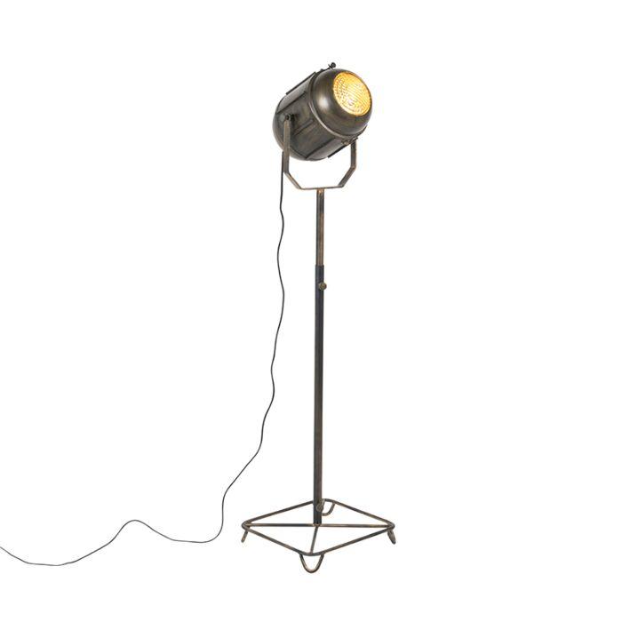 Vintage-filmspot-vloerlamp-antiek-brons-140-cm---Broca