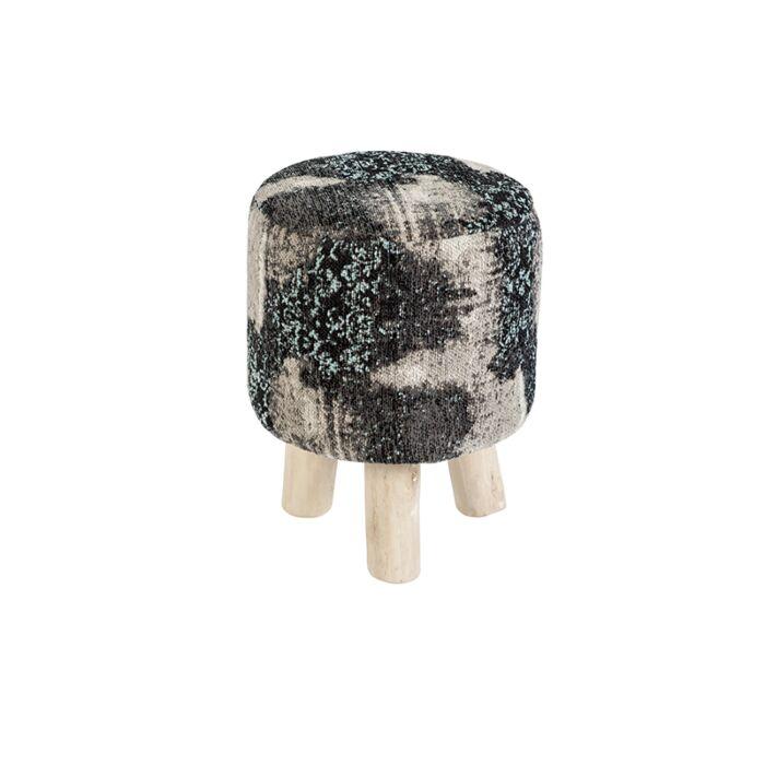 Vintage-rond-krukje-zwart/turquoise-30-x-30-x-40cm---Puri