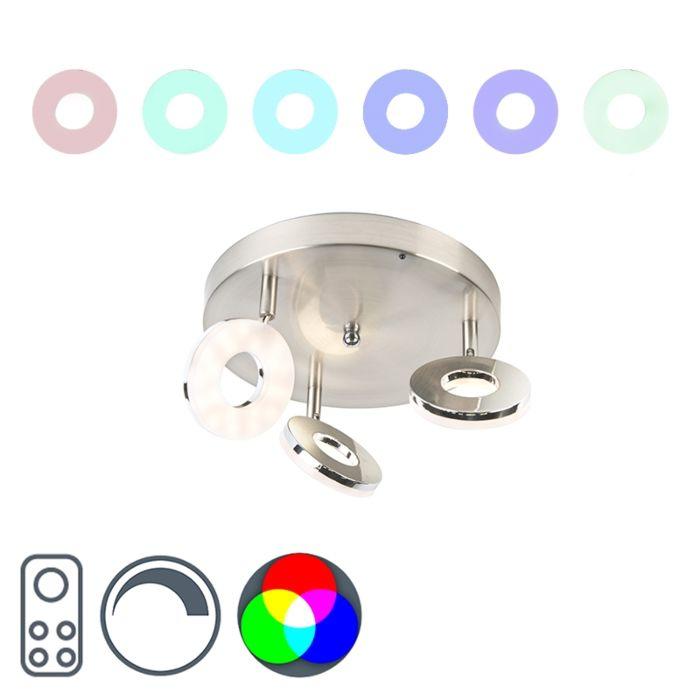 Moderne-spot-staal-met-RGBW-functie-3-lichts-op-ronde-plafondplaat---Chief