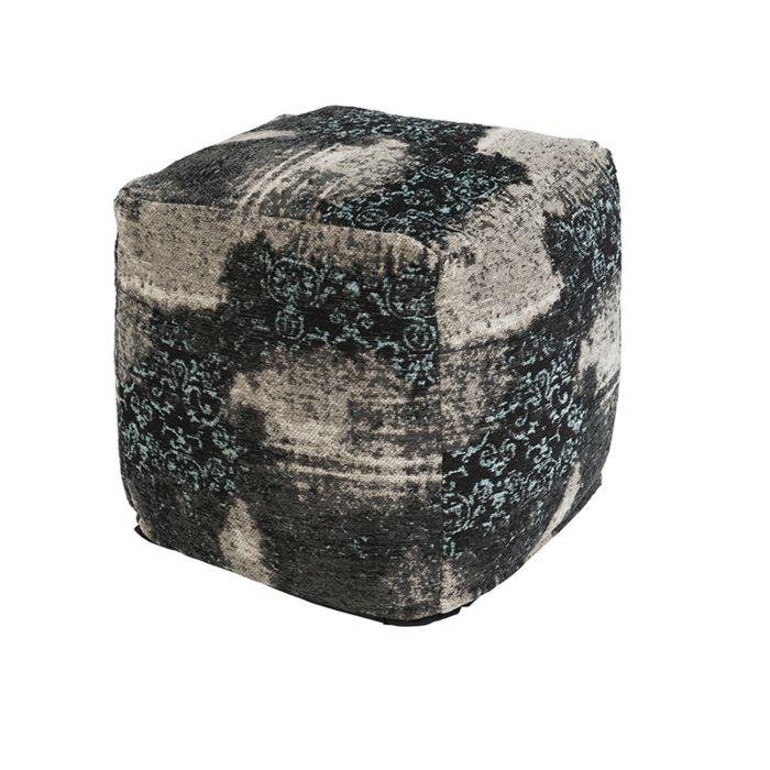 Vintage-vierkant-poefje-zwart/turquoise-45-x-45-x-45cm---Puri