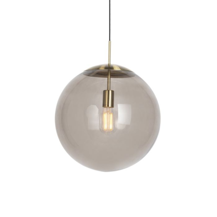 Moderne-hanglamp-messing-met-smoke-glas-40-cm---Ball