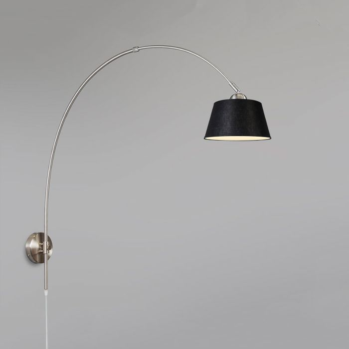 Wandlamp-Boog-staal-met-kap-20cm-zwart