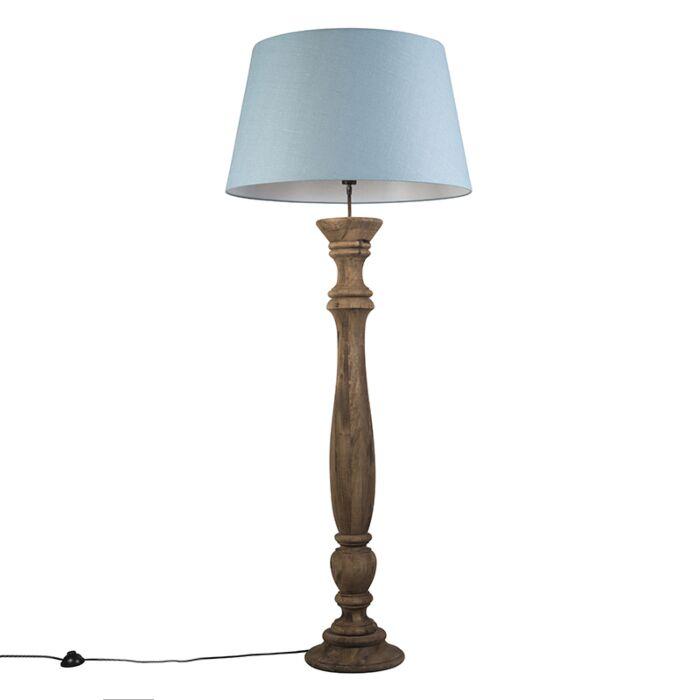 Vloerlamp-Ritual-naturel-met-kap-70cm-zee-blauw