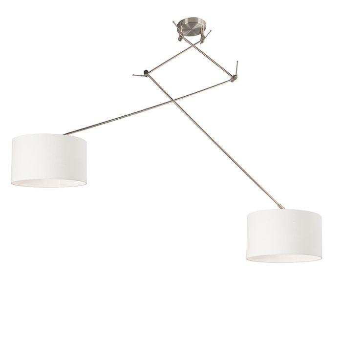 Hanglamp-staal-met-kap-35-cm-wit-verstelbaar---Blitz-II
