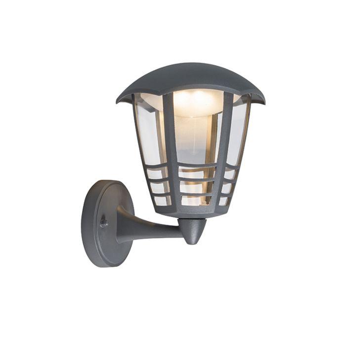 Moderne-buitenlamp-wand-donkergrijs-incl.-LED---Mara