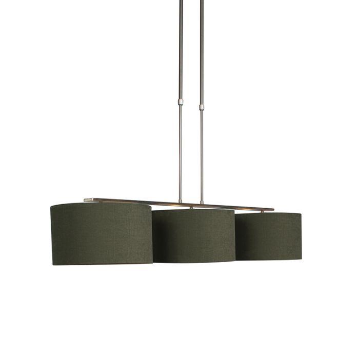 Hanglamp-staal-met-kap-35-cm-mos-groen---Combi-3-Deluxe