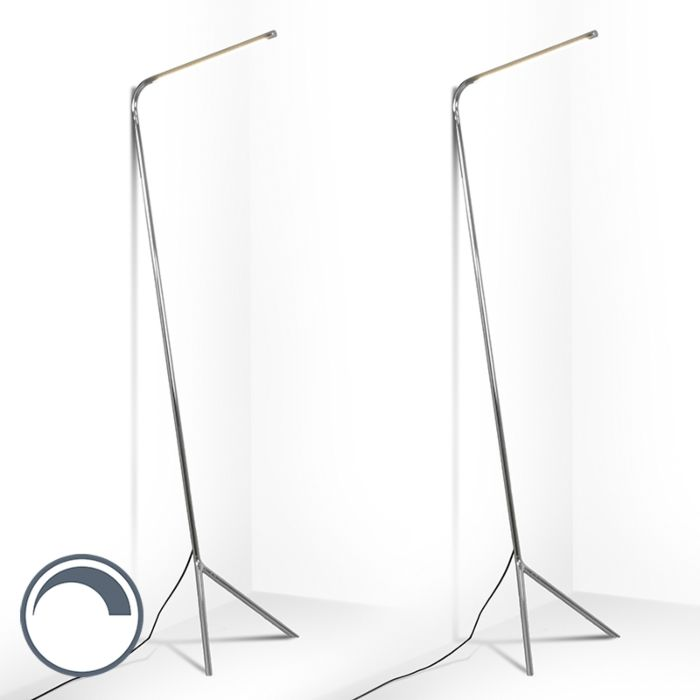 Set-van-2-design-vloerlamp-chroom-incl.-LED---Lazy-Lamp