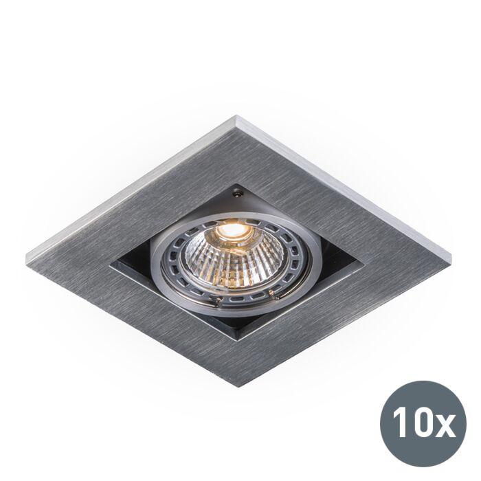 Set-van-10-inbouwspots-aluminium---Qure