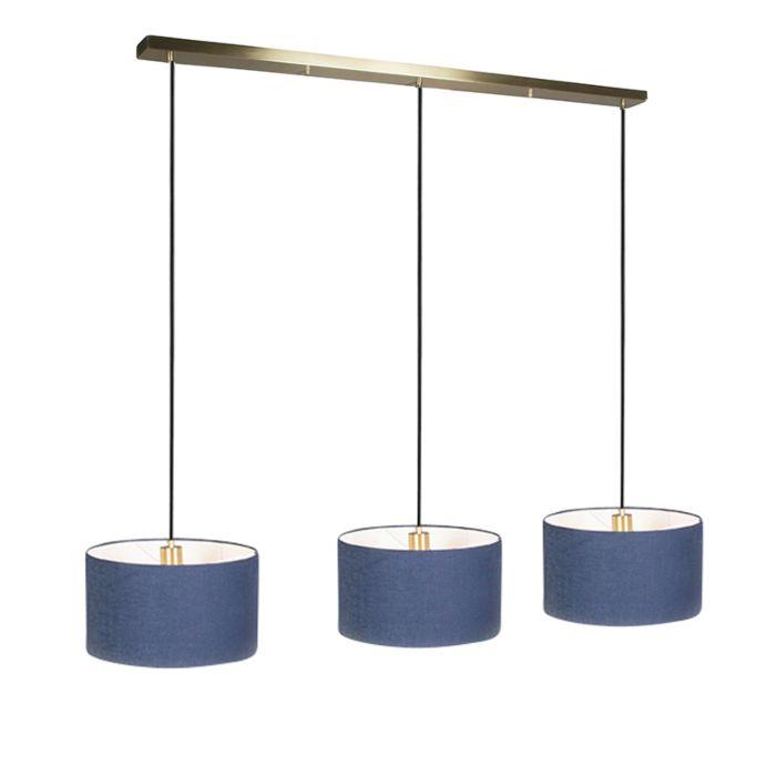 Hanglamp-Combi-3-goud-met-kap-35cm-antiek-blauw