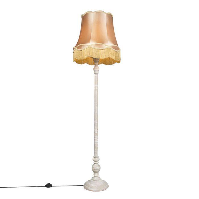 Vloerlamp-grijs-met-Granny-kap-goud---Classico