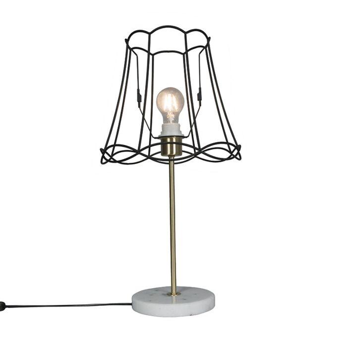 Retro-tafellamp-messing-met-Granny-frame-zwart-30-cm---Kaso