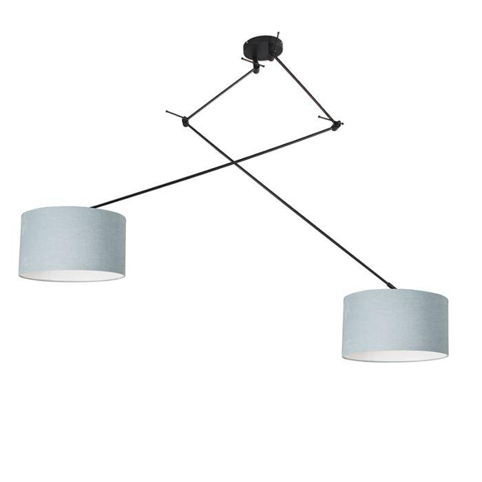 Hanglamp-zwart-met-kap-35-cm-lichtblauw-verstelbaar---Blitz-II