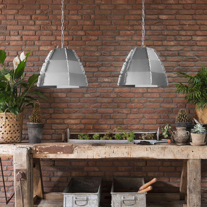 Set-van-2-design-hanglampen-blank-staal---Niro