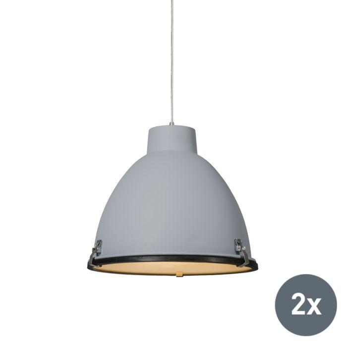 Set-van-2-Industriële-hanglampen-grijs-38-cm-dimbaar---Anteros