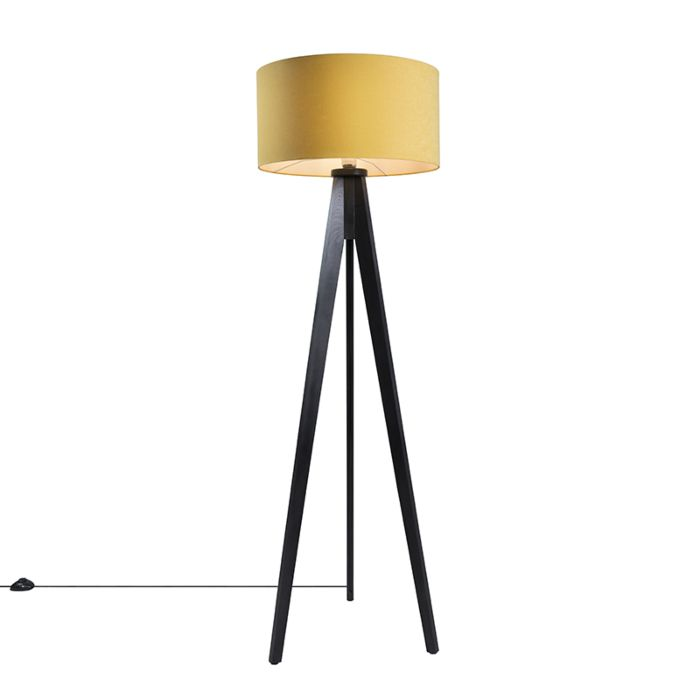 Vloerlamp-Tripod-Classic-zwart-met-kap-50cm-mais