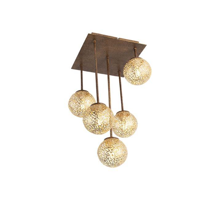 Landelijke-plafondlamp-5-lichts-vierkant-in-roestbruin---Kreta