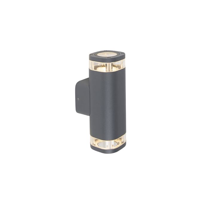 Moderne-buitenwandlamp-vierkant-2-lichts-donker-grijs---Fox