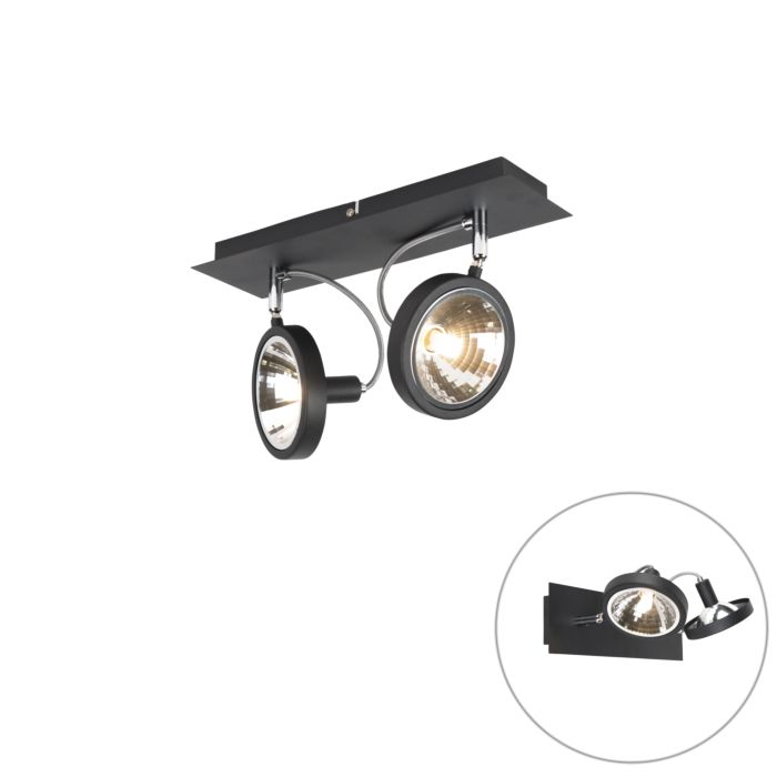 Design-spot-zwart-2-lichts-verstelbaar---Nox