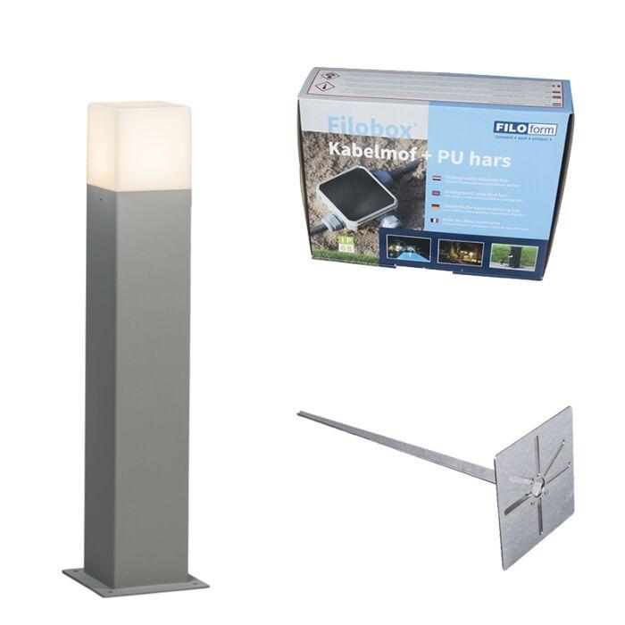 Buitenlamp-50-cm-grijs-met-grondpin-en-kabelmof---Denmark