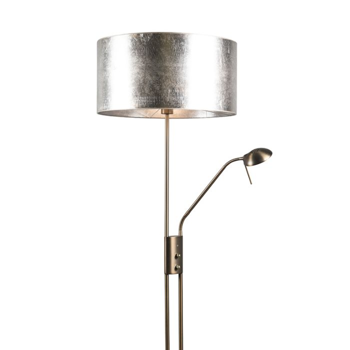 Vloerlamp-Luxor-brons-met-50cm-kap-zilverbruin