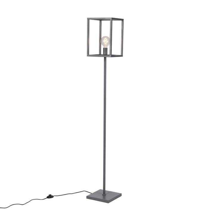 Industriële-kubusvormige-vloerlamp-donkergrijs---Cage