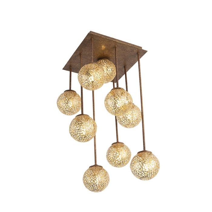 Landelijke-plafondlamp-9-lichts-vierkant-in-roestbruin---Kreta