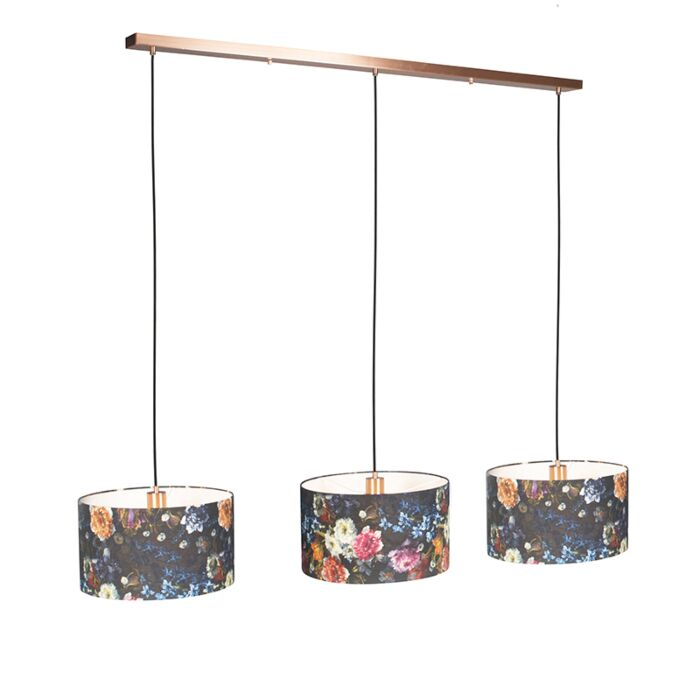Hanglamp-Combi-3-koper-met-kap-35cm-flora