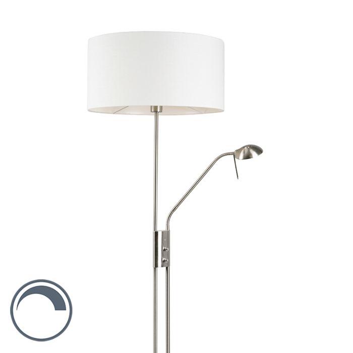 Vloerlamp-staal-en-wit-met-verstelbare-leesarm-incl.-LED---Luxor