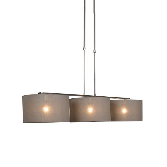 Moderne-hanglamp-staal-met-kap-35-cm-taupe---Combi-3-Deluxe