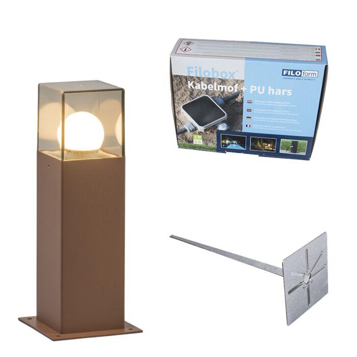 Buitenlamp-30-cm-roestbruin-met-grondpin-en-kabelmof---Denmark