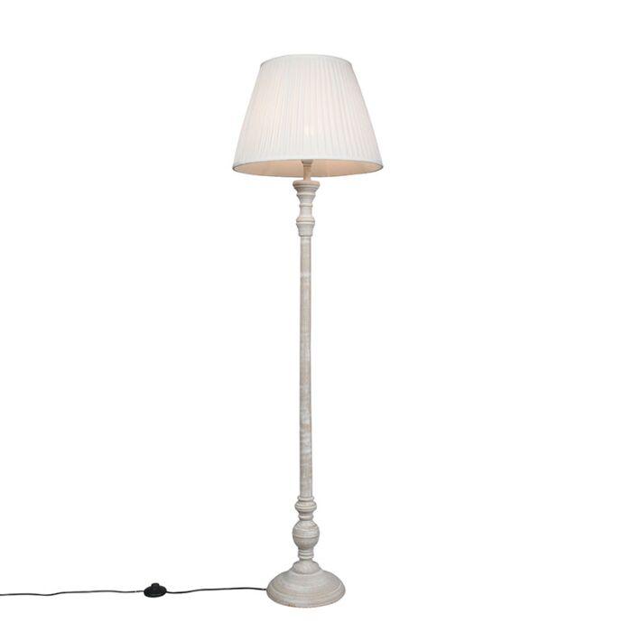 Vloerlamp-Classico-grijs-met-kap-Plisse-45cm-wit