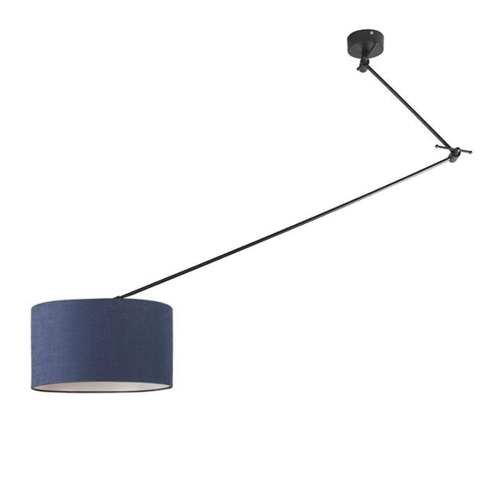 Hanglamp-zwart-met-kap-35-cm-blauw-verstelbaar---Blitz-I