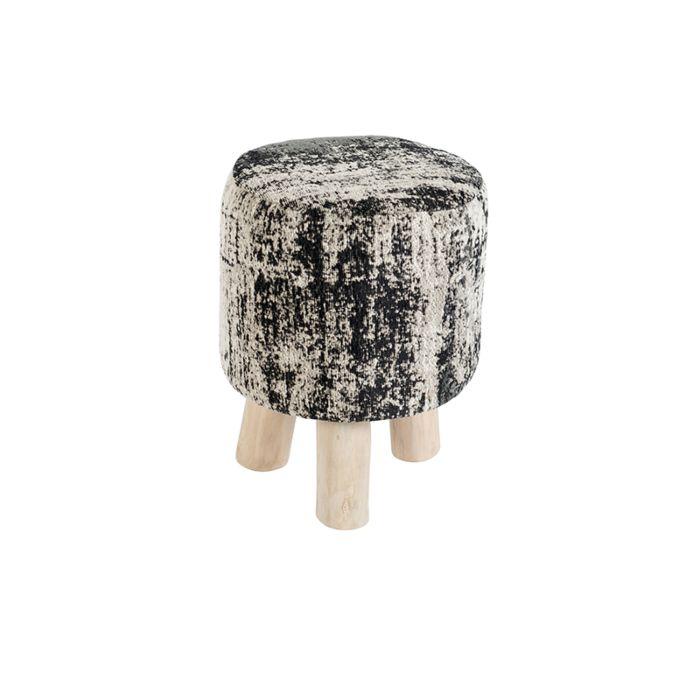 Vintage-rond-krukje-zwart/beige-30-x-30-x-40cm---Kochi