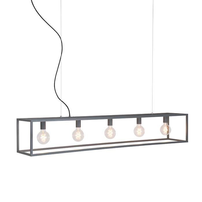 Industriële-hanglamp-grijs-5-lichts---Cage