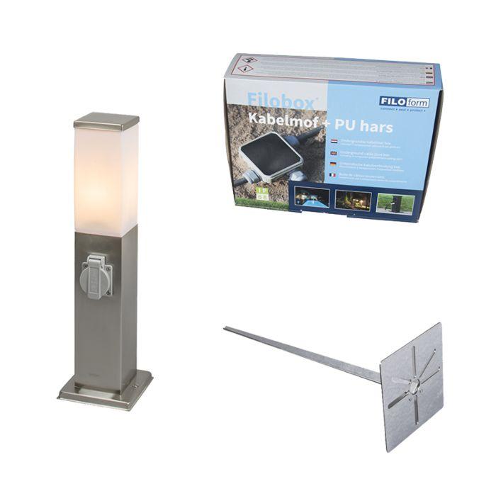 Buitenlamp-staal-incl-stopcontact-IP44--Malios-met-grondpin-en-kabelmof