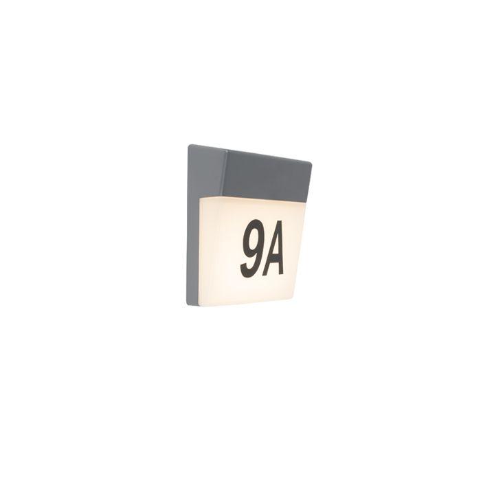 Buitenwandlamp-grijs-incl.-LED-en-huisnummer-IP54---Numbers