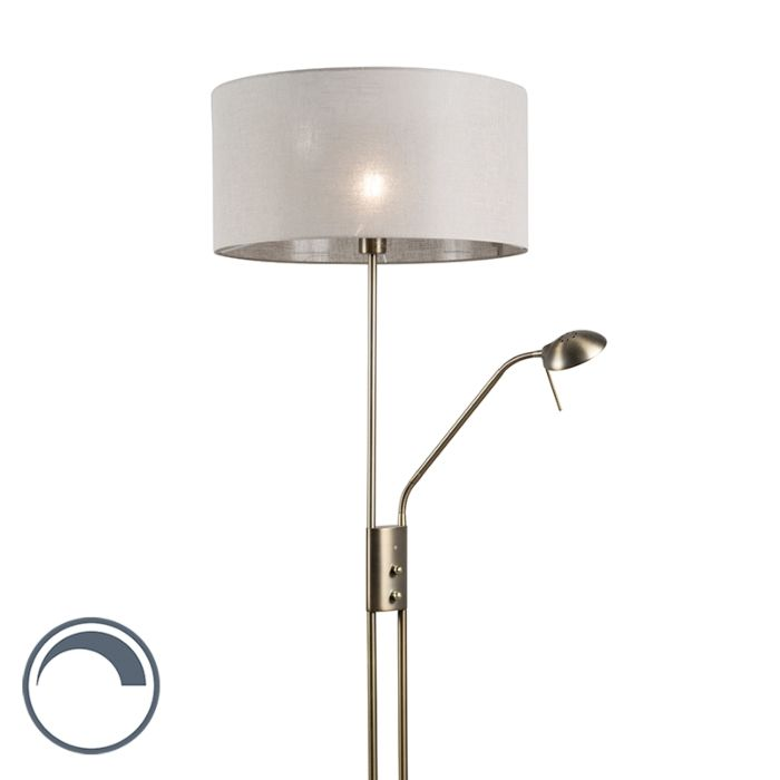 Vloerlamp-Luxor-brons-met-50cm-kap-taupe