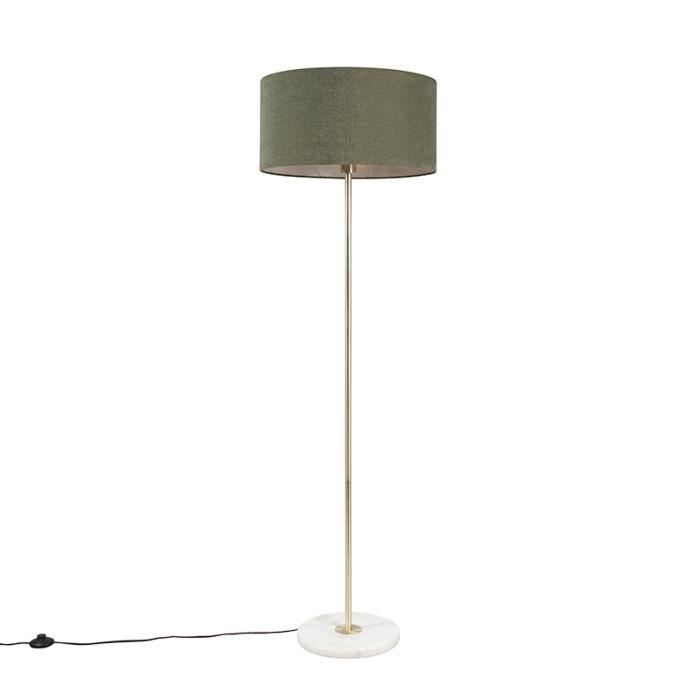 Vloerlamp-messing-met-groene-kap-50-cm---Kaso