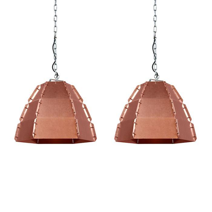 Set-van-2-design-hanglampen-koper---Niro