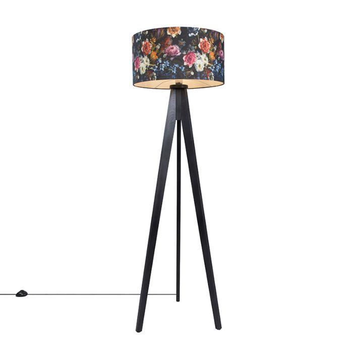 Vloerlamp-Tripod-Classic-zwart-met-kap-50cm-flora