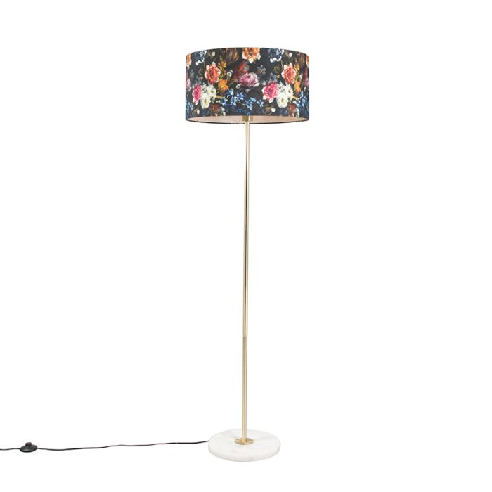 Vloerlamp-messing-met-flora-kap-50-cm---Kaso